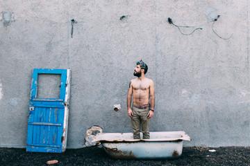 handsome man on a bath