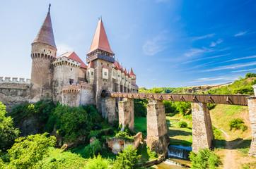Corvin Castle, Hunedoara, Transylvania, Romania. Hunyad Castle was laid out in 1446. Castelul Huniazilor in romanian.