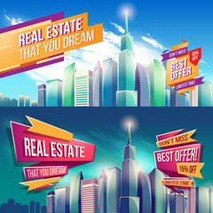 Set of vector cartoon illustrations, banners, urban backgrounds with modern big city buildings, skyscrapers, business centers day and night. Advertising banners for a real estate agency