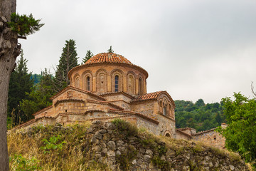 The church of Agioi Theodoroi (1290 A.D.) in old byzantine medieval town Mystras, Peloponesse, Greece