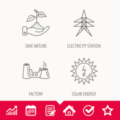 Electricity station, factory and solar energy.