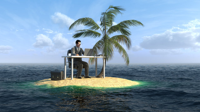 businessman working on the small island