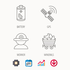 Worker, minerals and GPS satellite icons.