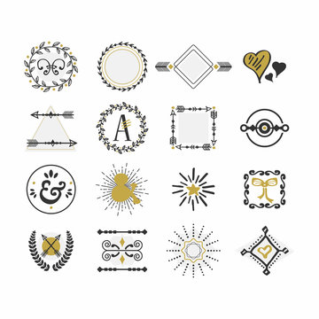 Black and golden hand drawn sign and symbol icons set on white background