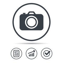 Camera icon. Professional photocamera sign.