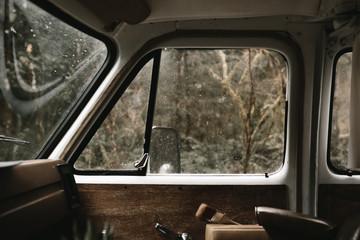 view of forest through van window