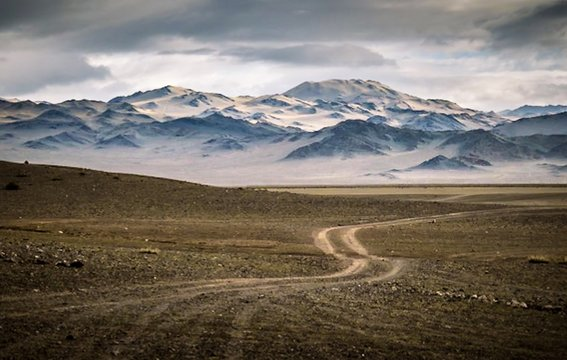 Tire tracks/dirt path winding toward snow-covered mountains