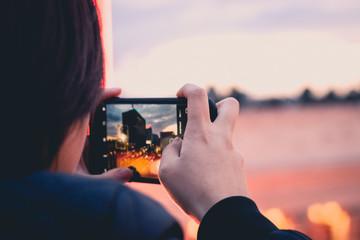 LA phone photo at sunset