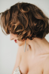 Blurred portrait of an anonymous girl brunette