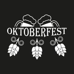 Oktoberfest label or emblem. Beer festival symbol with beer mugs and hops. Vector illustration.