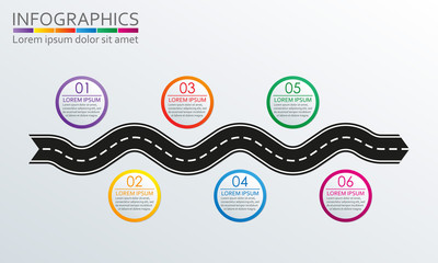 Winding road with 6 steps, options or levels. Step by step infographics template with road in shape of arrow. Vector illustration.