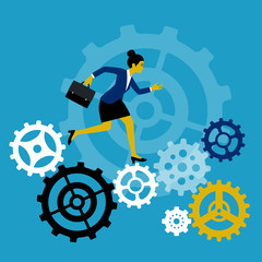 Business Engine. Businessman run inside the gears and cause the mechanism to work. Business concept