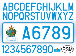 San Marino Republic car plate, letters, numbers and symbols