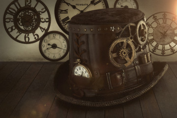 Steampunk tis tac  cappello orologio
