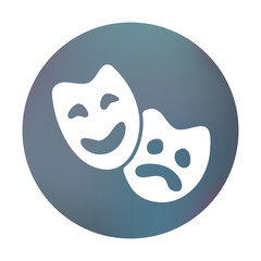 Farbiger Button - Theatermaske