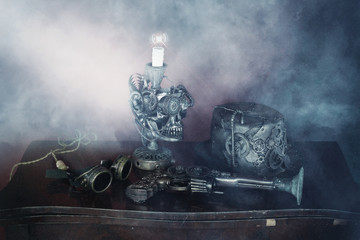 Steampunk gruppo teschio,archibugio,cappello