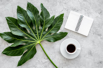 Cup of coffe near notebook and exotic palm leaf on light stone background top view