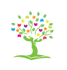 Tree with hands books and stars logo