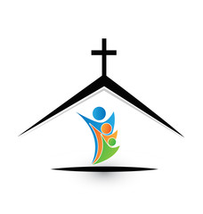Family in church icon logo