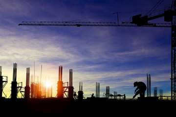 Silhouette images of construction sites