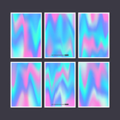 Hologram bright colorful backgrounds set.