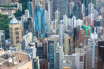 Aerial View of Hong Kong Central Financial District
