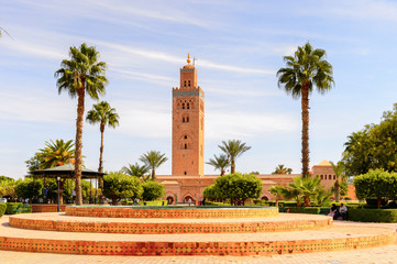 Poster Morocco Minaret of the Koutoubia Mosque of Marrakesh, Morocco. It is the capital city of the mid-southwestern region of Marrakesh-Asfi.