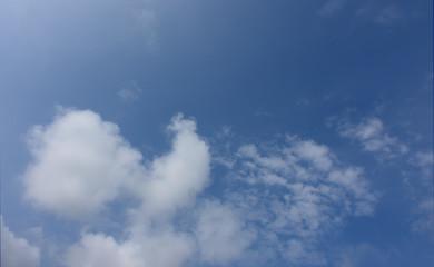 青空と雲「空想・雲のモンスターたち〔鶏のようなイメージ(左の雲)と現れ始めたドラゴン(右)などのイメージ」異種(ニワトリとドラゴンという違うものから連想したイメージ)との出会い、道をきく、道を尋ねる、一期一会、何をしているの?、会話するなどのイメージ