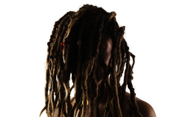 girl with dreadlocks in front of her face