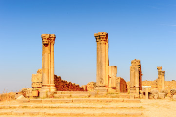 Ruins of Volubilis, an excavated Berber and Roman city in Morocco, ancient capital of the kingdom of Mauretania. UNESCO World Heritage