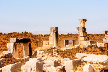 Excavations of Volubilis, an excavated Berber and Roman city in Morocco, ancient capital of the kingdom of Mauretania. UNESCO World Heritage