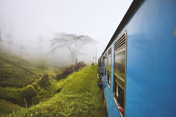 Shoot with view duringg by trail cars Sri-Lanka rail road in mountain area