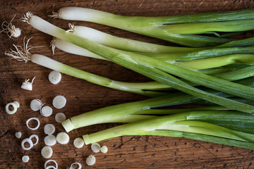 Green Onions on cutting board