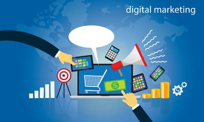 Business Concept. Internet Online Digital Marketing Vector