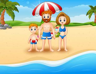 Happy family on vacation at the beach
