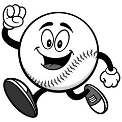 Baseball Mascot Running Illustration