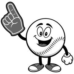 Baseball Mascot with Foam Finger Illustration