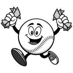Baseball Mascot Running with Money Illustration