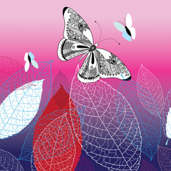 Vector background with beautiful butterflies