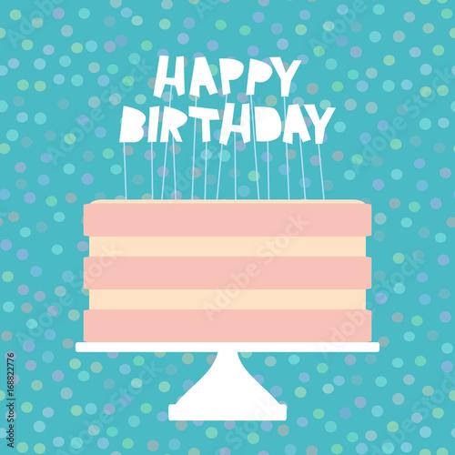 Happy Birthday Sweet Pink Cake Strawberry Pink Cream Banner Design