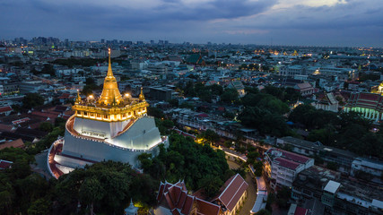 'Golden Mountain '  Wat Saket Ratcha Wora Maha Wihan popular Bangkok tourist attraction , Landmarks of bangkok Thailand .  top view