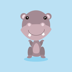 Cute hippo presenting with her hand (cartoon)