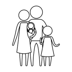 sketch silhouette of pictogram parents with a baby and little girl in clothes vector illustration