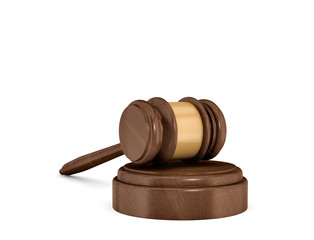 3d rendering of an isolated dark wood judge gavel resting on a sound block.