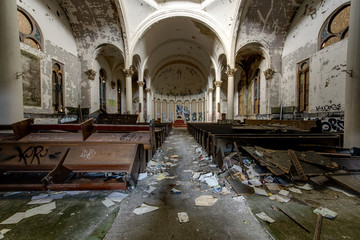Impressive Center Dome with Overturned Pews & Garbage in Sanctuary - Abandoned Church