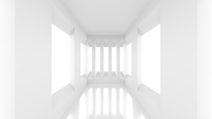 Futuristic empty white corridor with rectangular walls and windows. 3D Rendering.