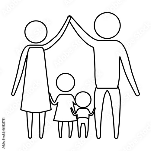 Sketch Silhouette Of Pictogram Parents Holding Hands Up And Baby Boy
