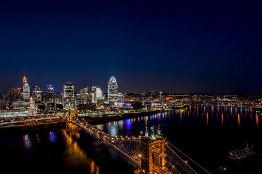 Downtown and Suspension Bridge at Sunset - Cincinnati, Ohio