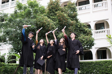 Group of Diverse International Graduating Students Celebrating Success, Education goal concept.