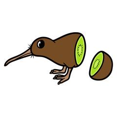 Cartoon Kiwi Bird and Fruit